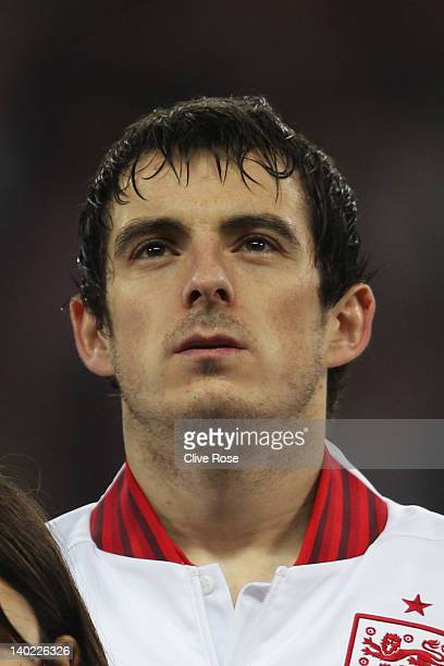 Leighton Baines of England looks on prior to the international friendly match between England and Netherlands at Wembley Stadium on February 29 2012...