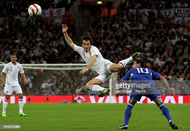 Leighton Baines of England wins the ball ahead of Ezequiel Rinaldi Danilo of San Marino during the FIFA 2014 World Cup Group H qualifying match...