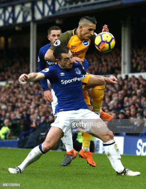 Leighton Baines of Everton and Anthony Knockaert of Brighton and Hove Albion battle for the ball during the Premier League match between Everton and...