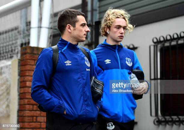 Leighton Baines of Everton and Tom Davies of Everton arrive to the stadium prior to the Premier League match between Crystal Palace and Everton at...