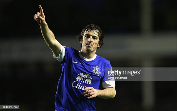 Leighton Baines of Everton celebrates after scoring the first goal during the Barclays Premier League match between Everton and West Bromwich Albion...