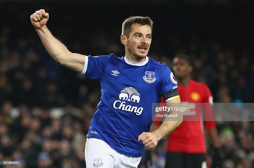 Leighton Baines of Everton celebrates as he scores their first and equalising goal from the penalty spot during the Premier League match between Everton and Manchester United at Goodison Park on December 4, 2016 in Liverpool, England.