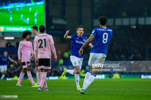 Leighton Baines of Everton celebrates goal with team mate Dominic CalvertLewin to make it 22 during the Carabao Cup Quarter Final match between...