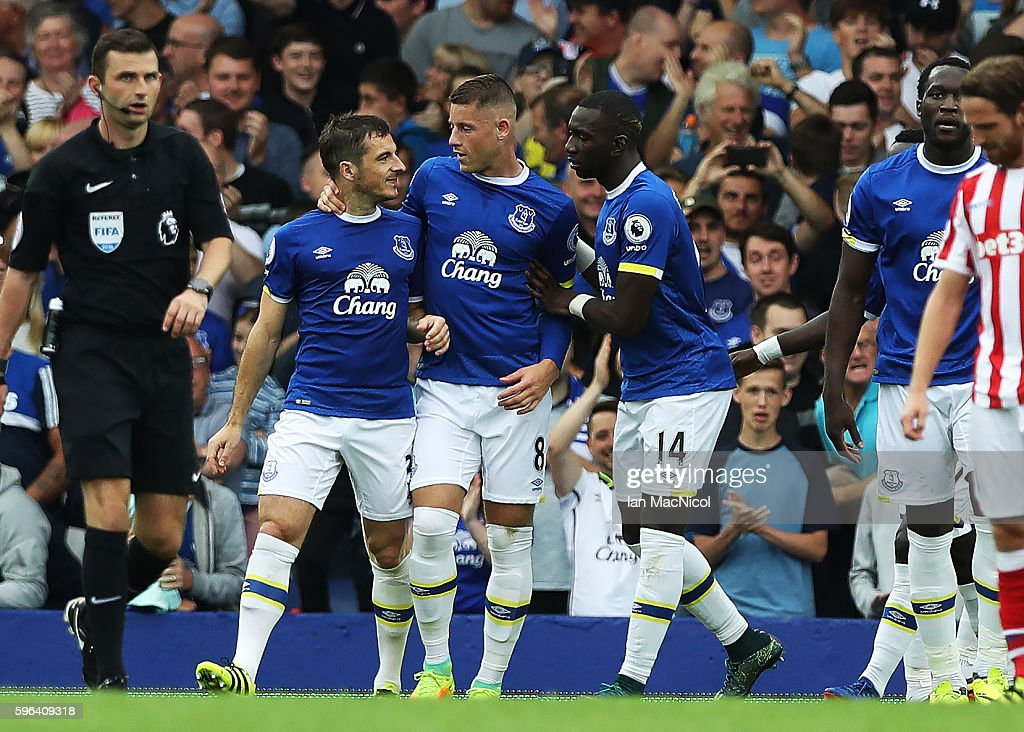 Leighton Baines of Everton celebrates scoring a penalty during the Premier League match between Everton and Stoke City at Goodison Park on August 27, 2016 in Liverpool, England.