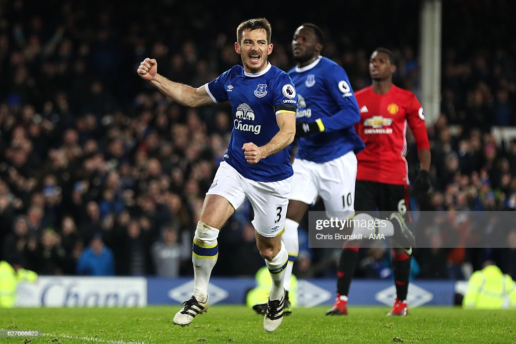 Leighton Baines of Everton celebrates scoring an equalising goal from a penalty to make the score 1-1 during the Premier League match between Everton and Manchester United at Goodison Park on December 4, 2016 in Liverpool, England.