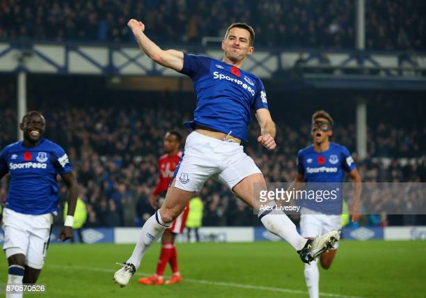 Leighton Baines of Everton celebrates scoring his sides third goal during the Premier League match between Everton and Watford at Goodison Park on...