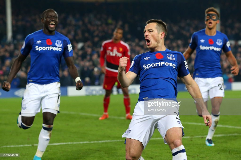 Leighton Baines of Everton celebrates scoring his sides third goal during the Premier League match between Everton and Watford at Goodison Park on November 5, 2017 in Liverpool, England.