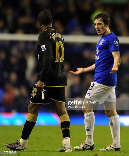 Leighton Baines of Everton clashes with Charles N'Zogbia of Wigan Athletic following the Barclays Premier League match between Everton and Wigan...