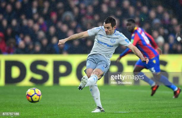 Leighton Baines of Everton converts the penalty to score his side's first goal to make it 11 during the Premier League match between Crystal Palace...