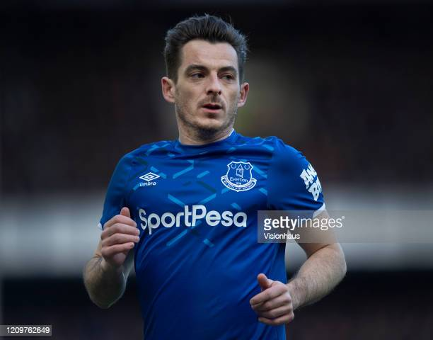 Leighton Baines of Everton during the Premier League match between Everton FC and Manchester United at Goodison Park on March 01 2020 in Liverpool...
