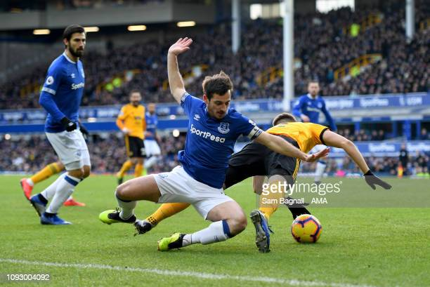 Leighton Baines of Everton fouls Matt Doherty of Wolverhampton Wanderers resulting in a penalty kick during the Premier League match between Everton...