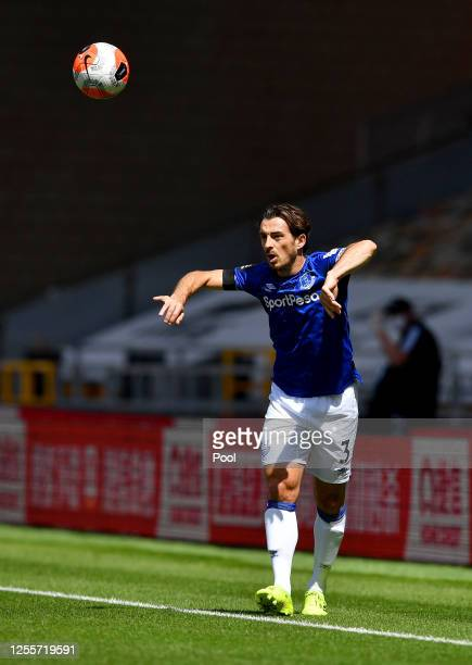 Leighton Baines of Everton in action during the Premier League match between Wolverhampton Wanderers and Everton FC at Molineux on July 12 2020 in...
