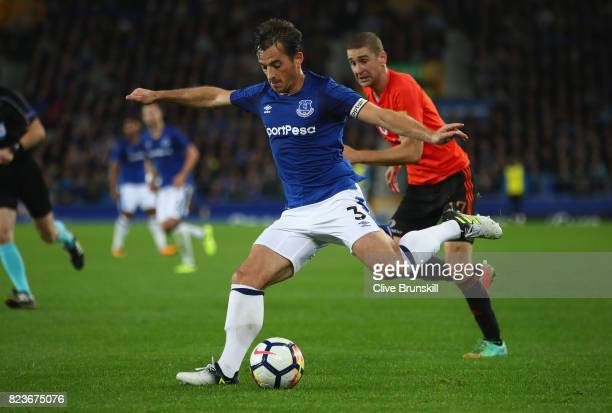 Leighton Baines of Everton in action during the UEFA Europa League Third Qualifying Round First Leg match between Everton and MFK Ruzomberok at...