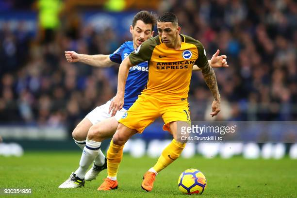 Leighton Baines of Everton in action with Anthony Knockaert of Brighton and Hove Albion during the Premier League match between Everton and Brighton...