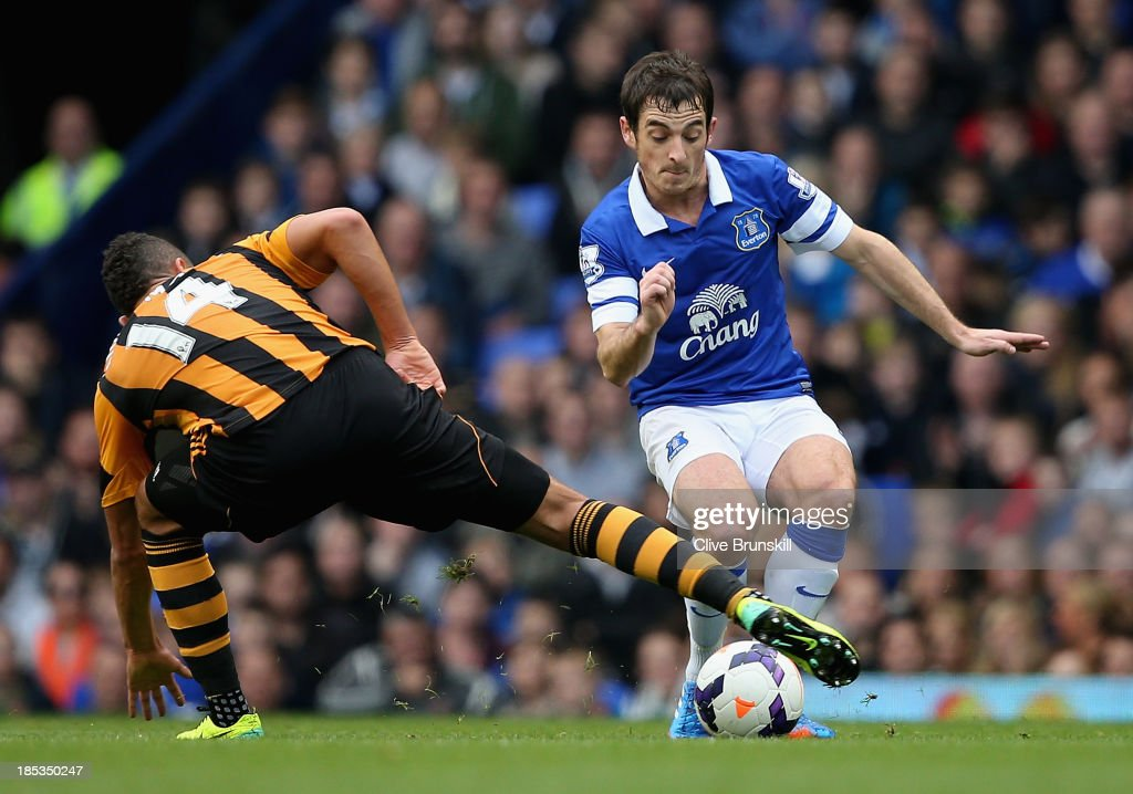 Leighton Baines of Everton is tackled by Jake Livermore of Hull City during the Barclays Premier League match between Everton and Hull City at Goodison Park on October 19, 2013 in Liverpool, England.