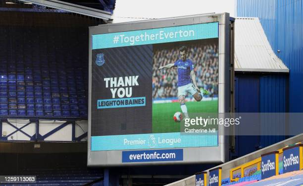 Leighton Baines of Everton is thanked for his service on the big screen during the Premier League match between Everton FC and AFC Bournemouth at...