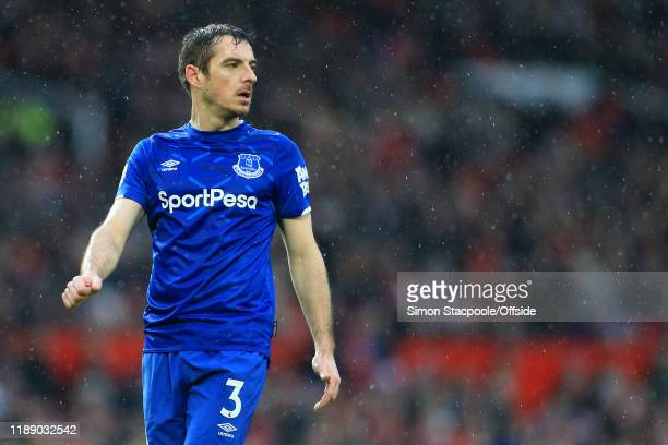 Leighton Baines of Everton looks on during the Premier League match between Manchester United and Everton FC at Old Trafford on December 15 2019 in...
