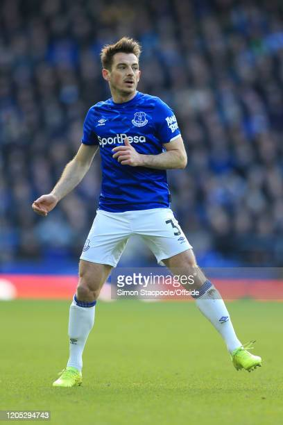 Leighton Baines of Everton looks on during the Premier League match between Everton FC and Manchester United at Goodison Park on March 1 2020 in...