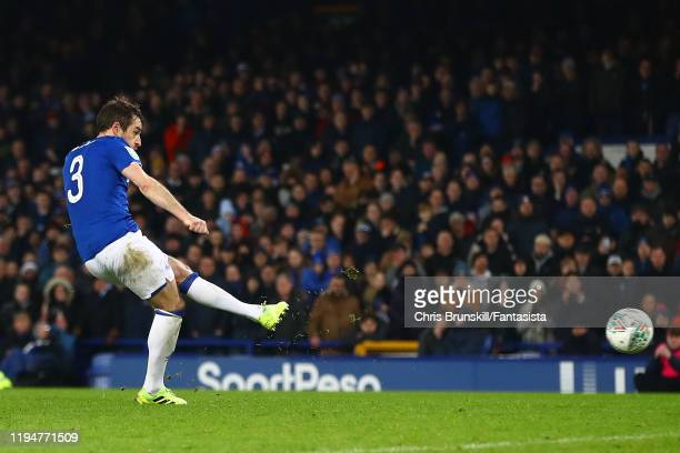 Leighton Baines of Everton misses in the penalty shootout during the Carabao Cup Quarter Final match between Everton FC and Leicester FC at Goodison...