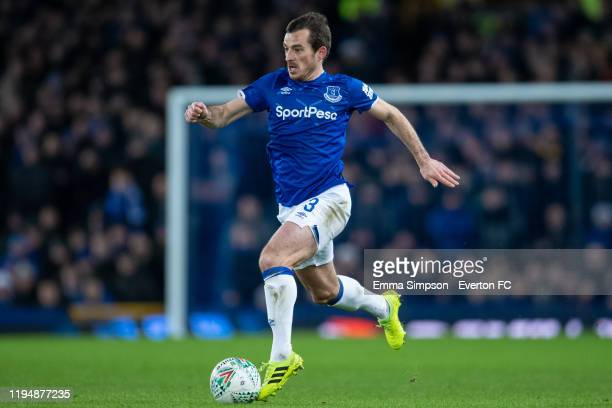 Leighton Baines of Everton on the ball during the Carabao Cup Quarter Final match between Everton FC and Leicester FC at Goodison Park on December 18...