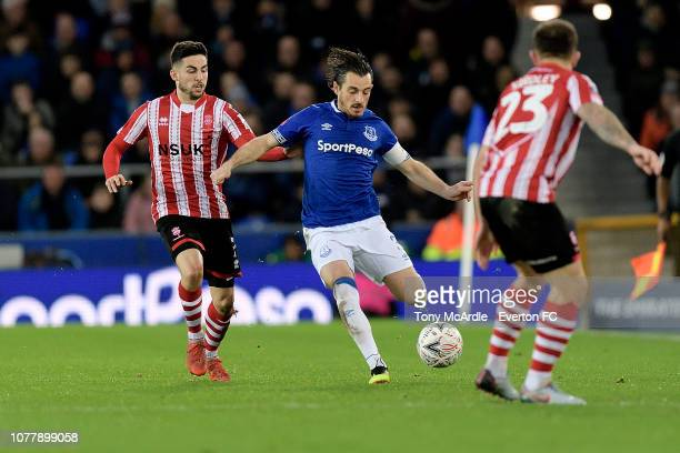 Leighton Baines of Everton on the ball during the Emirates FA Cup Third Round match between Everton and Lincoln City at Goodison Park on January 5,...