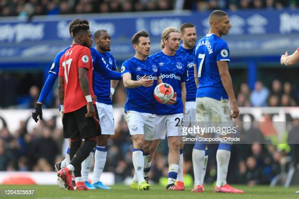 Leighton Baines of Everton questions a decision during the Premier League match between Everton FC and Manchester United at Goodison Park on March 1...