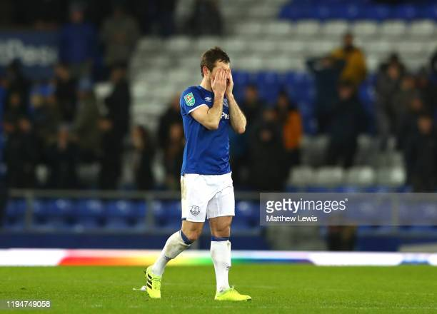 Leighton Baines of Everton reacts after defeat in the Carabao Cup Quarter Final match between Everton FC and Leicester FC at Goodison Park on...