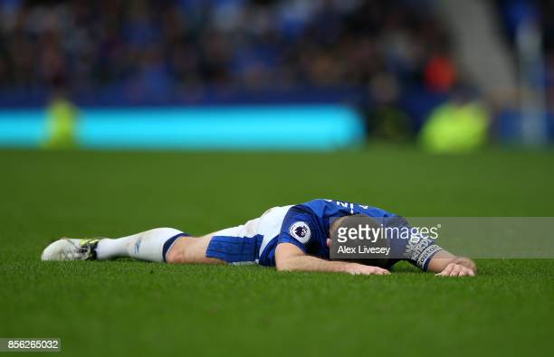 Leighton Baines of Everton reacts during the Premier League match between Everton and Burnley at Goodison Park on October 1 2017 in Liverpool England