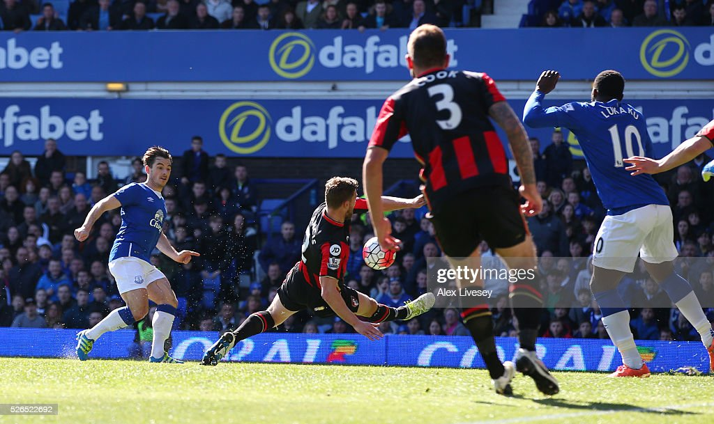 Leighton Baines of Everton scores his team's second goal during the Barclays Premier League match between Everton and A.F.C. Bournemouth at Goodison Park on April 30, 2016 in Liverpool, England.