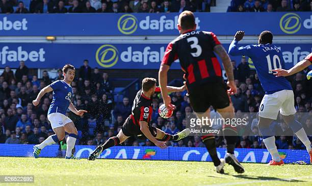 Leighton Baines of Everton scores his team's second goal during the Barclays Premier League match between Everton and AFC Bournemouth at Goodison...