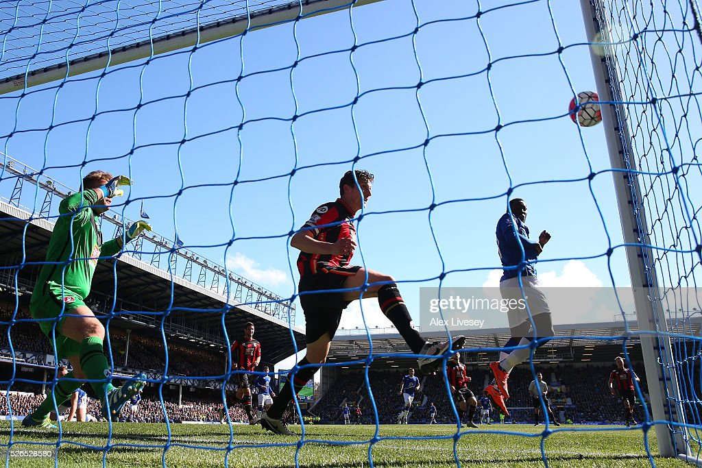 Leighton Baines (not pictured) of Everton scores his team's second goal during the Barclays Premier League match between Everton and A.F.C. Bournemouth at Goodison Park on April 30, 2016 in Liverpool, England.