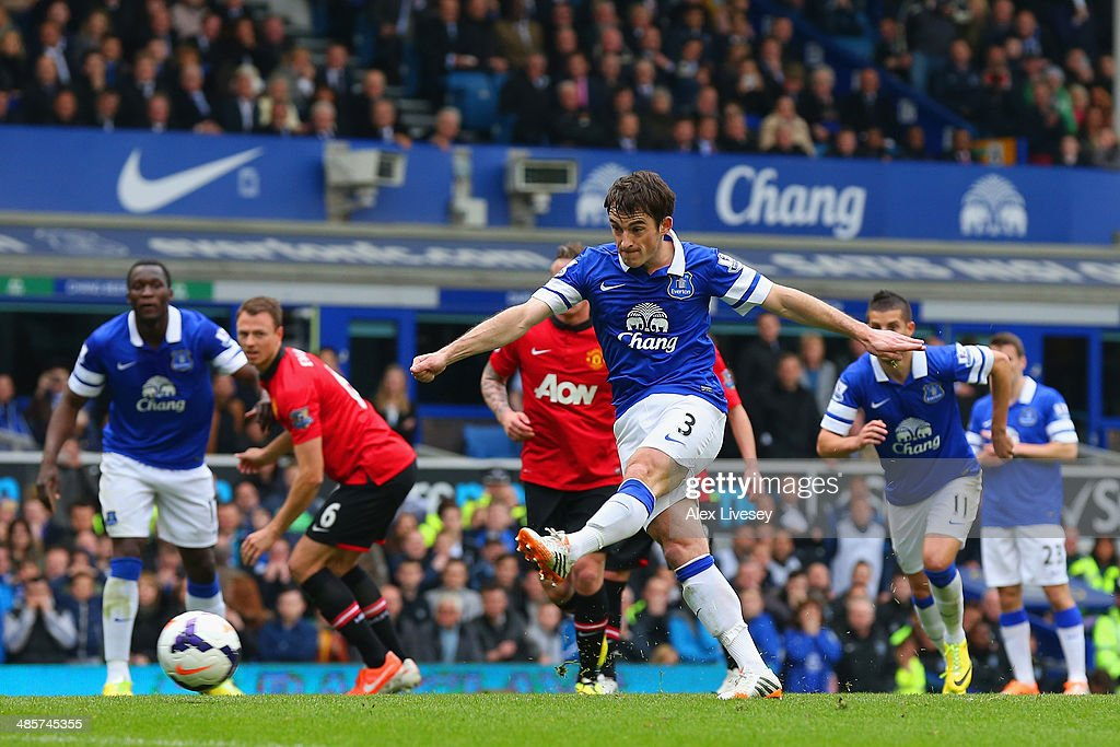 Leighton Baines of Everton scores the opening goal from the penalty spot during the Barclays Premier League match between Everton and Manchester United at Goodison Park on April 20, 2014 in Liverpool, England.