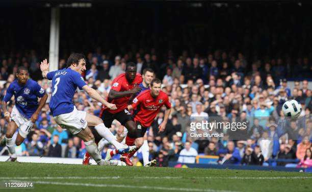 Leighton Baines of Everton scores the second goal from the penalty spot during the Barclays Premier League match between Everton and Blackburn Rovers...