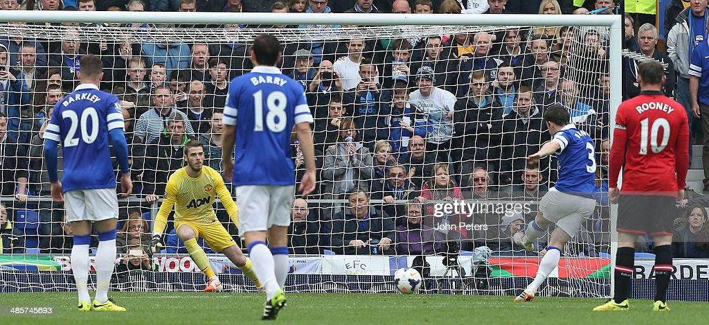 Leighton Baines of Everton scores their first goal during the Barclays Premier League match between Everton and Manchester United at Goodison Park on April 20, 2014 in Liverpool, England.