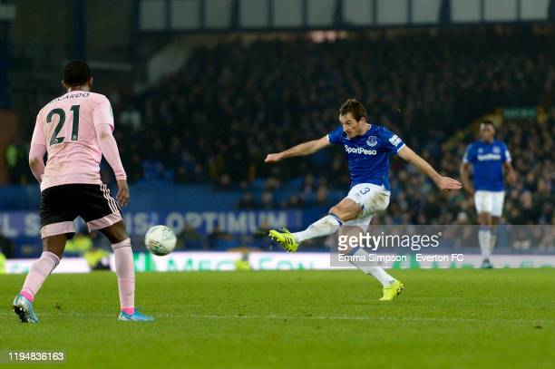 Leighton Baines of Everton shoots to score during the Carabao Cup Quarter Final match between Everton and Leicester City at Goodison Park on December...