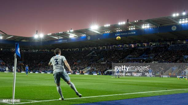 Leighton Baines of Everton takes a corner as a dusk sky sets over King Power Stadium home stadium of Leicester City during the Premier League match...