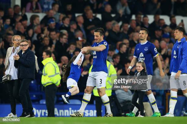 Leighton Baines of Everton takes part in a lap of honor after the Premier League match between Everton and Watford at Goodison Park on May 12 2017 in...
