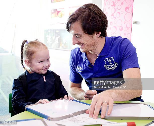 Leighton Baines of Everton takes part in an Everton in the Community event at Alder Hey Children's Hospital after being inaugurated as patron on...