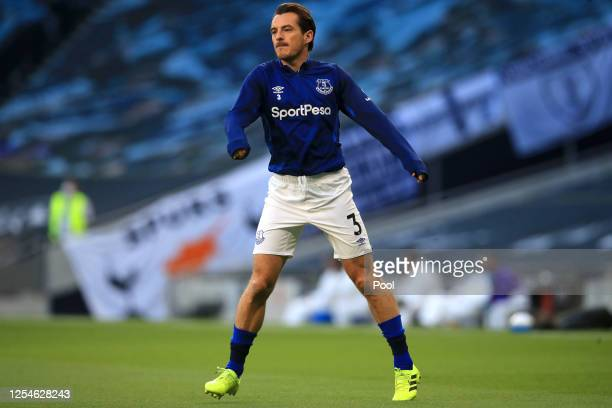 Leighton Baines of Everton warms up prior to the Premier League match between Tottenham Hotspur and Everton FC at Tottenham Hotspur Stadium on July...