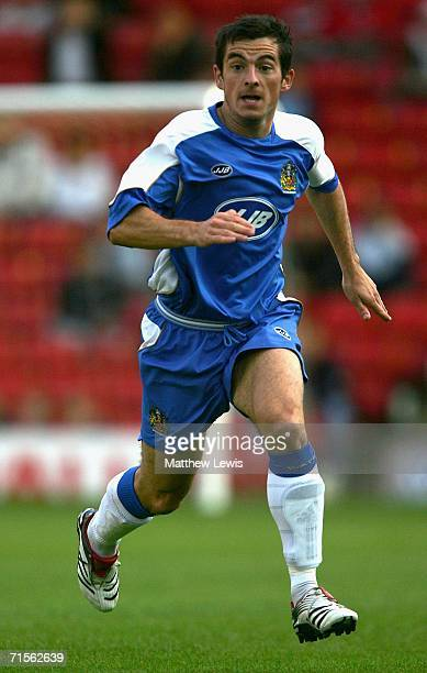 Leighton Baines of Wigan Athletic in action during the Preseason Friendly match between Barnsley and Wigan Athletic at Oakwell on August 1 2006 in...