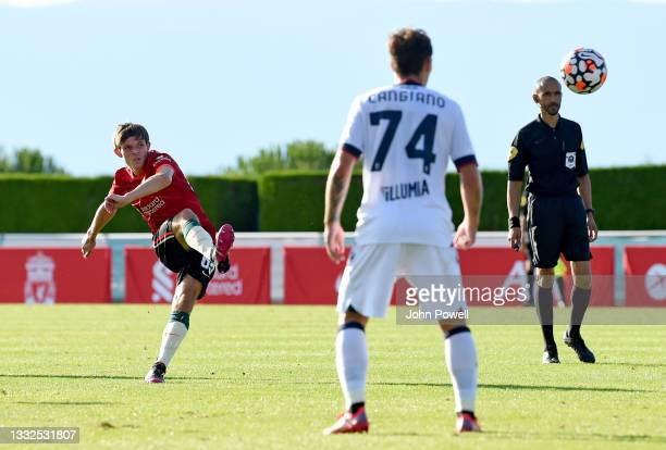 Leighton Clarkson of Liverpool during the Pre Season match between Liverpool and Bologna on August 05, 2021 in Evian-les-Bains, France.