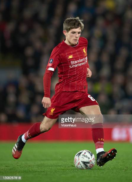 Leighton Clarkson of Liverpool in action during the FA Cup Fourth Round Replay match between Liverpool and Shrewsbury Town at Anfield on February 4...