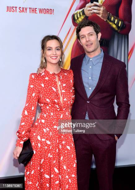 Leighton Meester and Adam Brody attend the world premiere of Shazam at TCL Chinese Theatre on March 28 2019 in Hollywood California