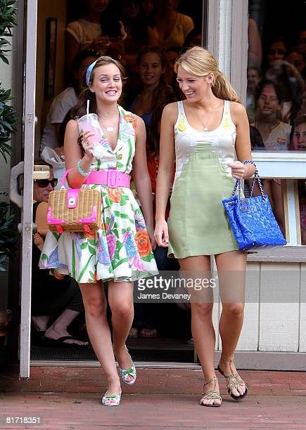 Leighton Meester and Blake Lively on location for 'Gossip Girl' on June 25 2008 in Port Washington New York