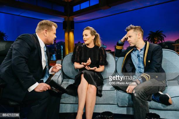 Leighton Meester and Dominic Monaghan chat with James Corden during 'The Late Late Show with James Corden' Monday March 13 2017 On The CBS Television...