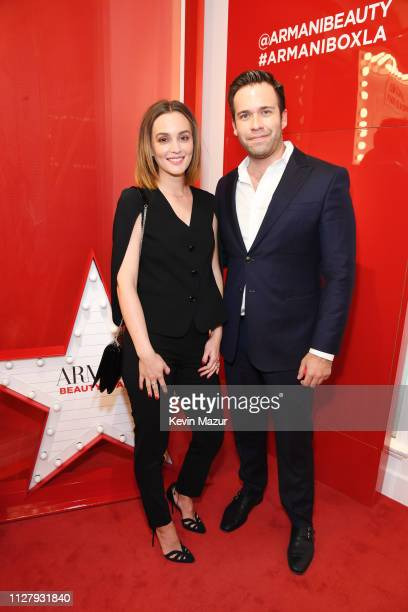 Leighton Meester and Giorgio Armani Beauty VP of Beauty and Fragrance Gino Luci attend The Armani Box Los Angeles PopUp Store Grand Opening at The...