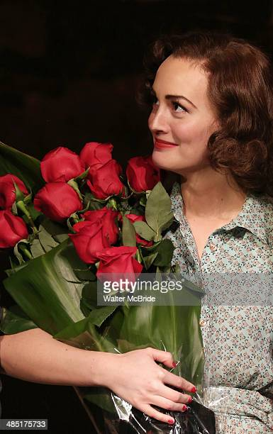 Leighton Meester during the opening night curtain call for 'Of Mice and Men' at The Longacre Theatre on April 16 2014 in New York City