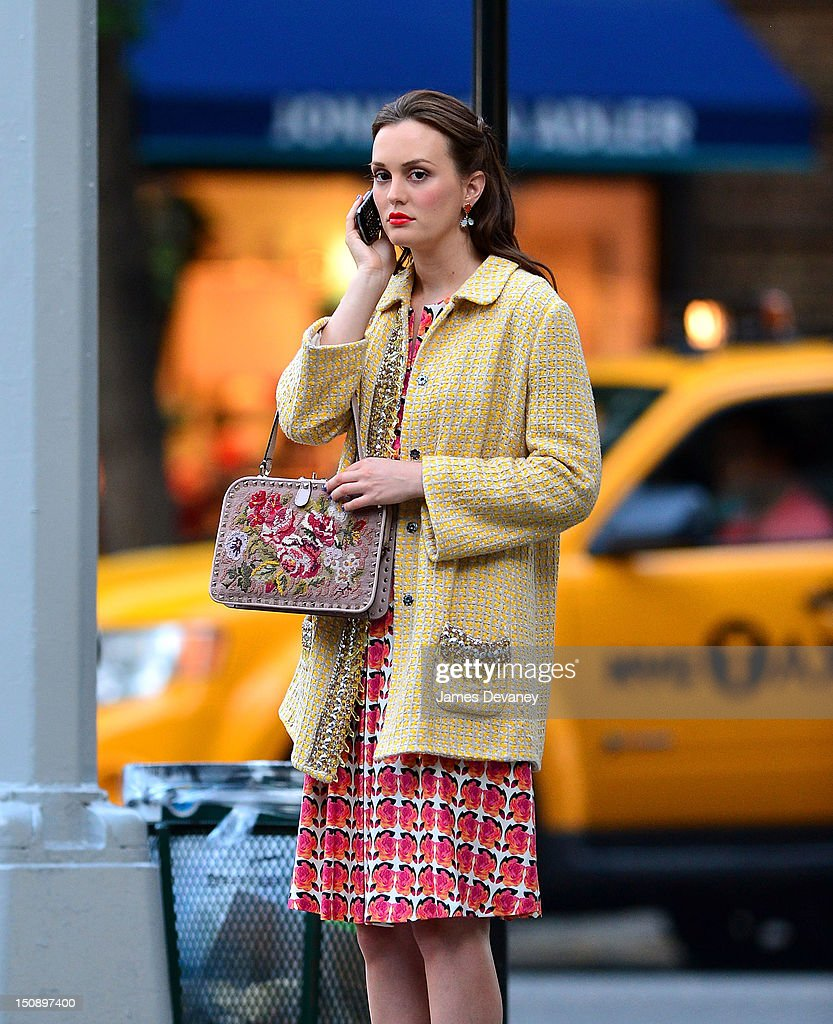 Leighton Meester filming on location for 'Gossip Girl' on August 28, 2012 in New York City.