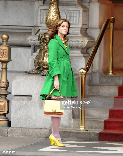 Leighton Meester films on location for Gossip Girl on the streets of Manhattan on March 16 2009 in New York City