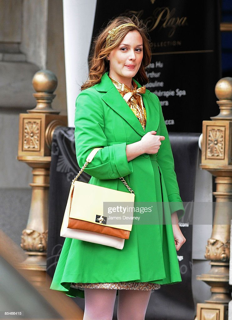 Leighton Meester films on location for 'Gossip Girl' on the streets of Manhattan on March 16, 2009 in New York City.